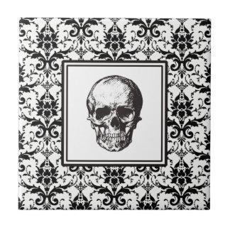 Damast-Muster-Schädel HALLOWEENS schwarzer Keramikfliese