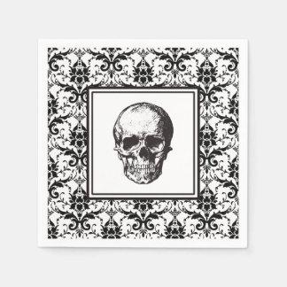 Damast-Muster-Schädel HALLOWEENS schwarzer Papierserviette