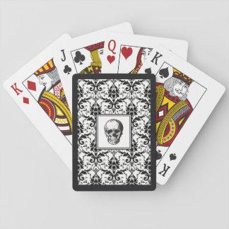 Damast-Muster-Schädel HALLOWEENS schwarzer Spielkarten