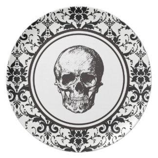 Damast-Muster-Schädel HALLOWEENS schwarzer Teller