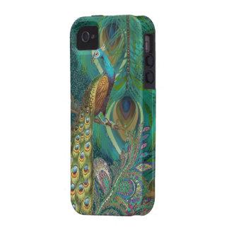 Damast-Pfau u. versehen Sie wählen Farbe mit Feder Vibe iPhone 4 Cover