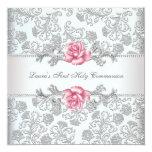 Damast-rosa Rosen-Mädchen-erste Kommunion Individuelle Ankündigungskarte