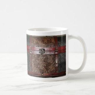 Damast-Rosen-Leder-Vintager Kasten Kaffeetasse