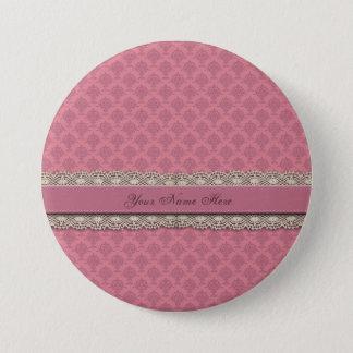 Damast-Rosen-Rosa-Wiederholung Runder Button 7,6 Cm