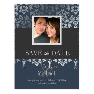 Damast, Save the Date Fotopostkarten, Postkarten