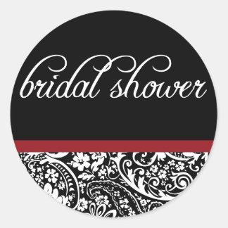 Damast-Schönheit-Brautduschen-Aufkleber Runder Aufkleber