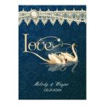 Damast-Schwan-Eleganz-Blau - Hochzeits-Einladung 12,7 X 17,8 Cm Einladungskarte