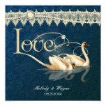 Damast-Schwan-Eleganz-Blau - Hochzeits-Einladung