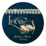 Damast-Schwan-Eleganz-blaue Hochzeit - rund Individuelle Einladungskarte