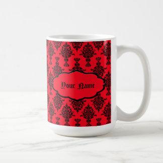 Damast-Schwarzes auf Rot Kaffeetasse