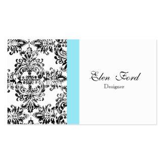 Damast-Schwarzweiss-- und blaues elegantes Visitenkarten