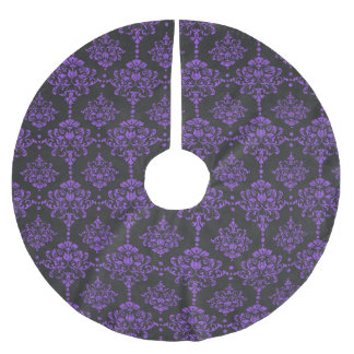 Damast-Tafel-Muster Halloweens lila Polyester Weihnachtsbaumdecke