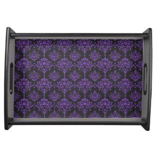 Damast-Tafel-Muster Halloweens lila Tablett