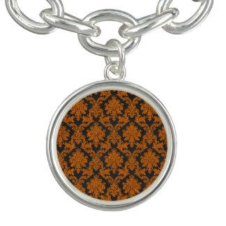 Damast-Tafel-Muster Halloweens orange Charm Armband