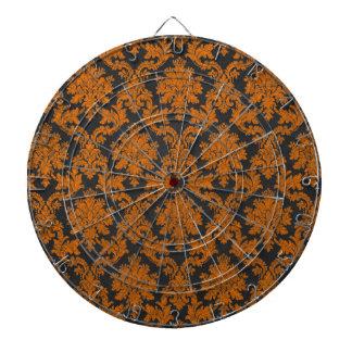 Damast-Tafel-Muster Halloweens orange Dartscheibe