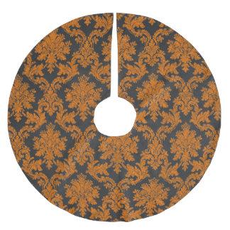 Damast-Tafel-Muster Halloweens orange Polyester Weihnachtsbaumdecke