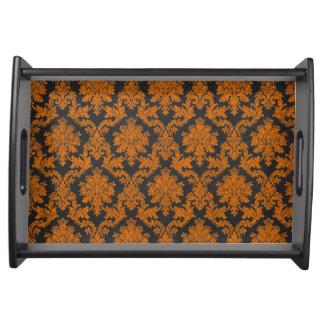 Damast-Tafel-Muster Halloweens orange Tablett