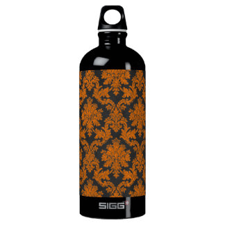 Damast-Tafel-Muster Halloweens orange Wasserflasche