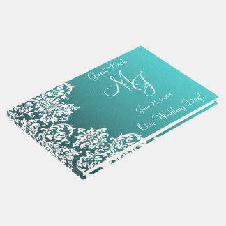 Damast-Türkis-Hochzeits-Gast-Buch Gästebuch