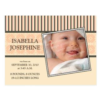 Damast-u. Streifen-korallenrote Baby-Geburts-Mitte Postkarte