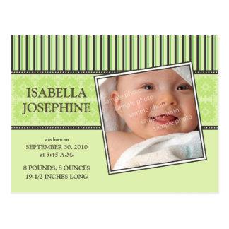 Damast-u. Streifen-Limone Baby-Geburts-Mitteilung Postkarte