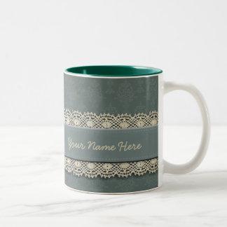 Damast-weises Grün-Ton auf Ton Zweifarbige Tasse