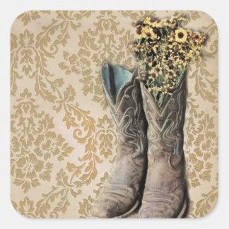 Damast-Wildblume Westernland-Cowboystiefel Quadratischer Aufkleber