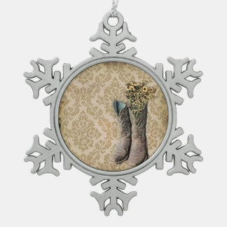 Damast-Wildblume Westernland-Cowboystiefel Schneeflocken Zinn-Ornament
