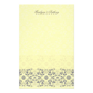 Damast-Wirbels-Spitze-Butter danken Ihnen Briefpapier