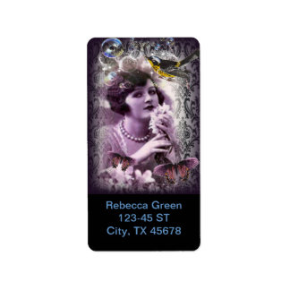 Damast-Zwanzigerjahre Dame Flapper Girl Paris des Adressetikett