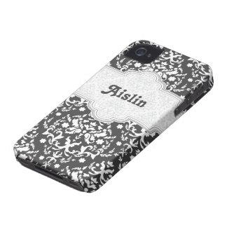 Damastmustergrau, weißes niedliches girly iPhone 4 hüllen