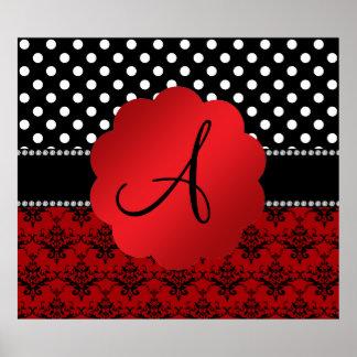 Damastschwarz-Tupfen des Monogramms rote Posterdruck