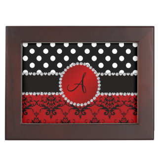 Damastschwarz-Tupfendiamanten des Monogramms rote Erinnerungsbox