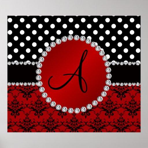 Damastschwarz-Tupfendiamanten des Monogramms rote Posterdrucke