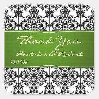 Damastschwarz-, weiße und Grüne Hochzeit danken Quadrataufkleber