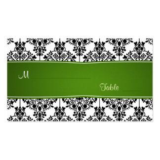 Damastschwarz-, weiße und Grüne Platzkarte Visitenkarten Vorlagen