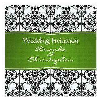 Damastschwarz-, weiße und Grüne Quadratische 13,3 Cm Einladungskarte