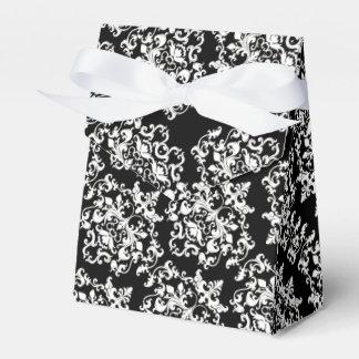 DamastSchwarz-weißes mit Blumenelegantes Geschenkkarton