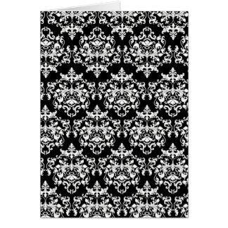 DamastSchwarz-weißes mit Blumenelegantes Grußkarte