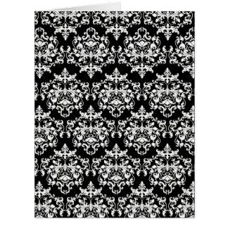 DamastSchwarz-weißes mit Blumenelegantes Karten