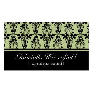 Damastschwarze grüne Cosmetologist-Visitenkarten Visitenkarten
