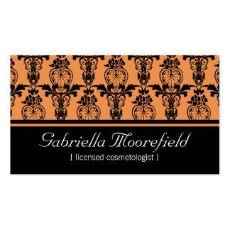 Damastschwarze orange Cosmetologist-Visitenkarten Visitenkarten