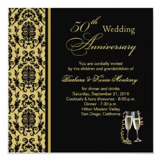 Damastschwarzes auf Gold50. Hochzeitstag Quadratische 13,3 Cm Einladungskarte