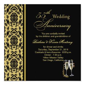 Damastschwarzes auf Gold55. Hochzeitstag Quadratische 13,3 Cm Einladungskarte