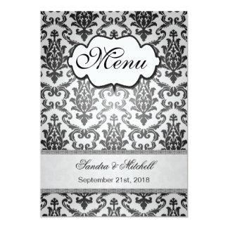 Damastschwarzes auf silberne Hochzeits-Menü 12,7 X 17,8 Cm Einladungskarte