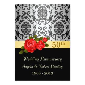 Damastschwarzes, Rote Rose 50. Hochzeits-Jahrestag 11,4 X 15,9 Cm Einladungskarte