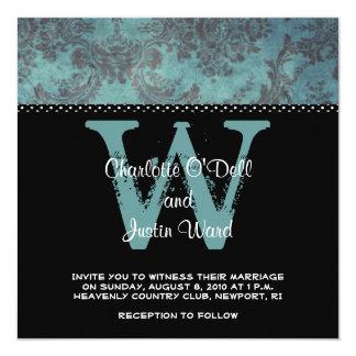 Damastschwarzes; wedding quadratische 13,3 cm einladungskarte