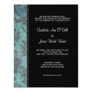 Damastschwarzes; wedding 10,8 x 14 cm einladungskarte