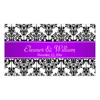 Damastschwarzes, Weiß, lila Gastgeschenk Visitenkarten