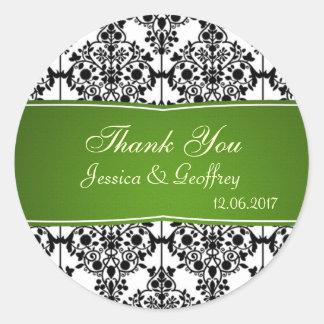 Damastschwarzes, -WEISS und -GRÜN danken Ihnen Runde Sticker